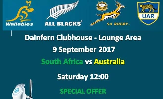 COMING UP THIS WEEKEND: THE RUGBY CHAMPIONSHIP – SATURDAY 9 SEPTEMBER 2017