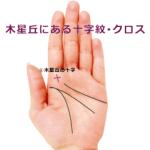 人差し指の下(木星丘)に十字(クロス・十字紋・十字線)がある手相の見方