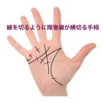 障害線(妨害線)が掌線を遮る手相