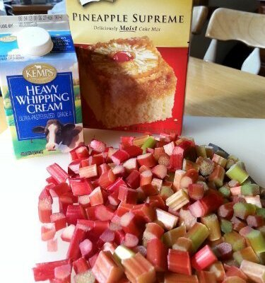 Rhubarb Custard Upside Down Cake