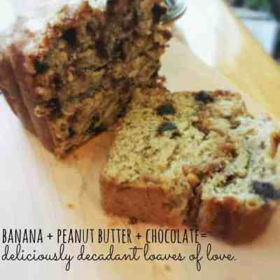 Bananas + Peanut Butter + Chocolate= The most delicious banana bread recipe ever!