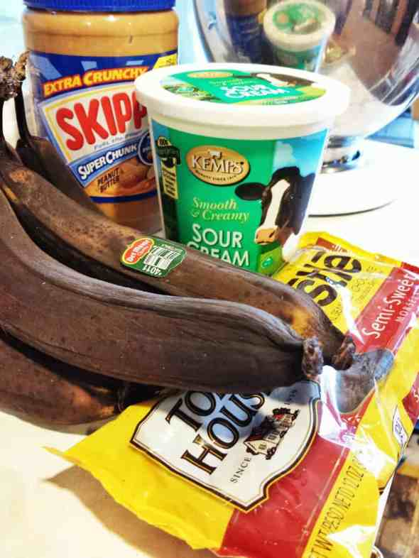 Ingredients for Banana Bread recipe with chocolate chips and peanut butter