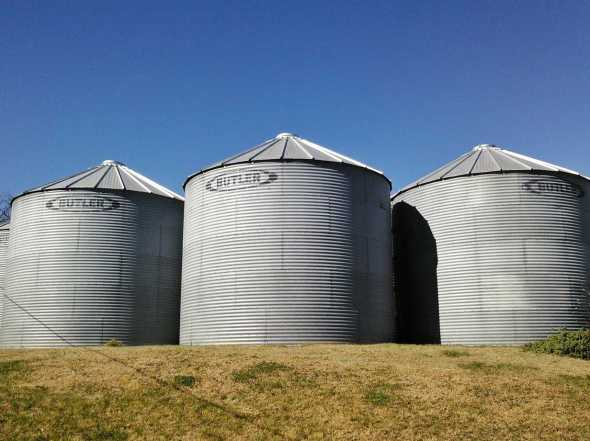These are grain bins. Unlike a silo, bins are used to store dry feeds like corn or soybeans.  Silos on the other hand hold things that are wetter and that you want to ferment.  Thanks to my friend Nicole for sending me a photo of their grain bins. Click on this photo to visit her blog!