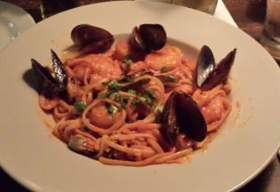 Linguine with seafood cioppino entree