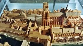 Model of Medieval Ile de la Cite with Notre Dame at Upper Right