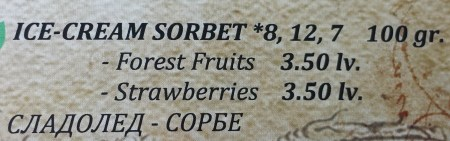 Sorbets on Shtastliveca's Menu