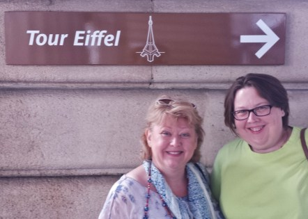 Therese and Faith on their Way to the Eiffel Towre