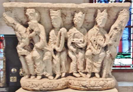 Rouen Antiquities Museum 12th Century Capital with Musicians 1