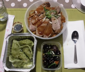 Take Out Dinner from Ho Lamian - Noodles with Duck, Dumplings, Mushrooms