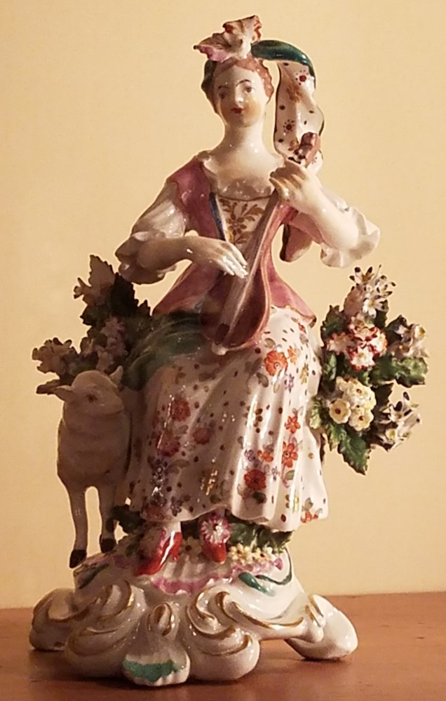 Woman Playing Fiddle Ceramic