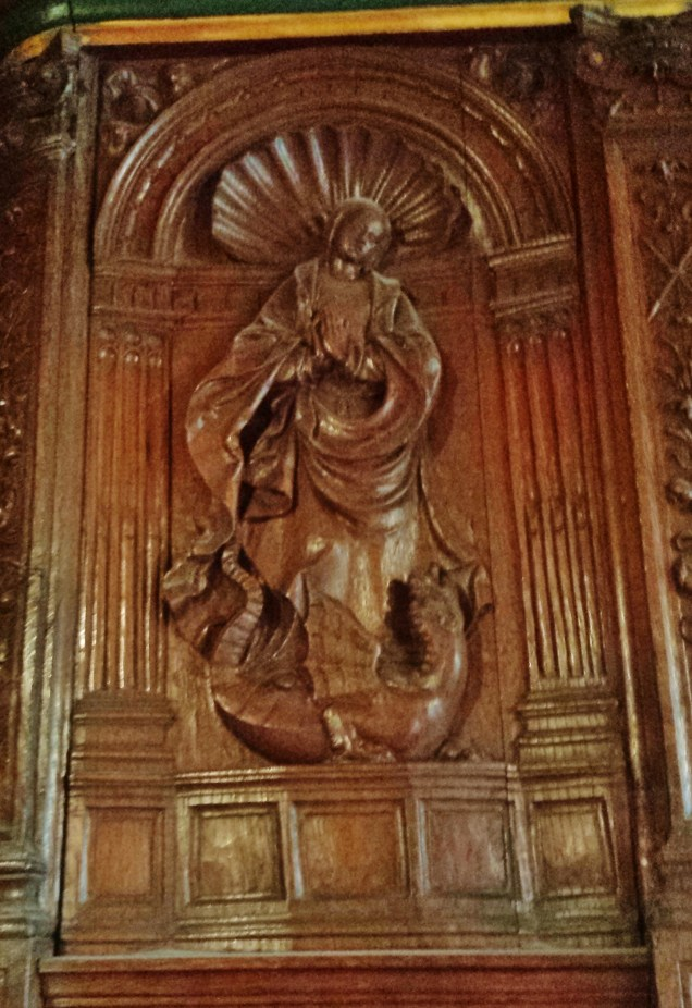 Wood Carved Decoration Above Fireplace