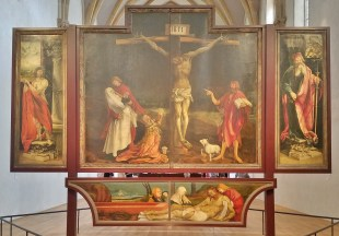 The Crucifixion flanked by St Anthony and St Sebastian