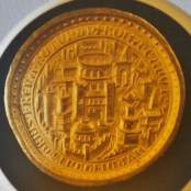 Medieval Gold Coin with Illustration of Rome and the Colosseum
