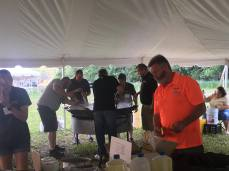 Volunteers prepping food at the 2017 Kewaunee County Breakfast on the Farm
