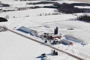 Junion Homestead Farm Winter Aerial Photo