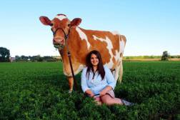 Mikayla and her Guernsey Reba (Junion Homestead Dairy)
