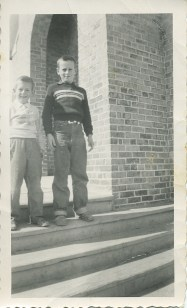 Peggy's brothers on the Mickinley School steps, Larry & Jim Junion (5th generation Junion Homestead Farm)
