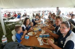 The host family enjoying the rewards of all their hard work leading up to the big event.