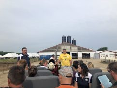 Tony & Amanda Knorn share the farm's 150 year story with our tour guides before breakfast begins.