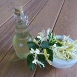 Simple syrup in a bottle. Bowl of honeysuckle beside it and it's setting on a wood table.