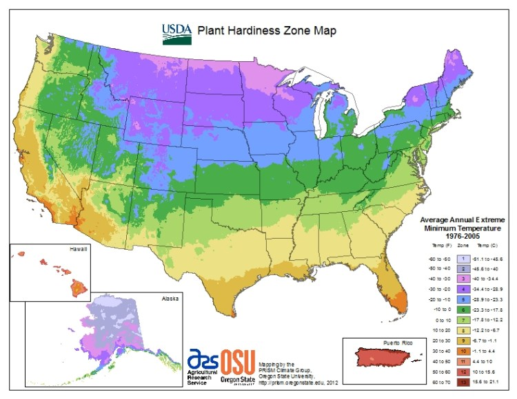 a hardiness zone map