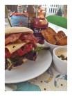 homemade beef burger, burger toppings, smoked paprika wedges, anchovy mayonnaise