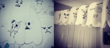 ghost garland, paper bunting, easy halloween decorations, kids halloween activities