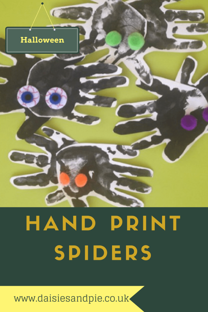 halloween crafts for kids, halloween activities for kids, hand print spiders, halloween spider decorations, homemade halloween decorations,