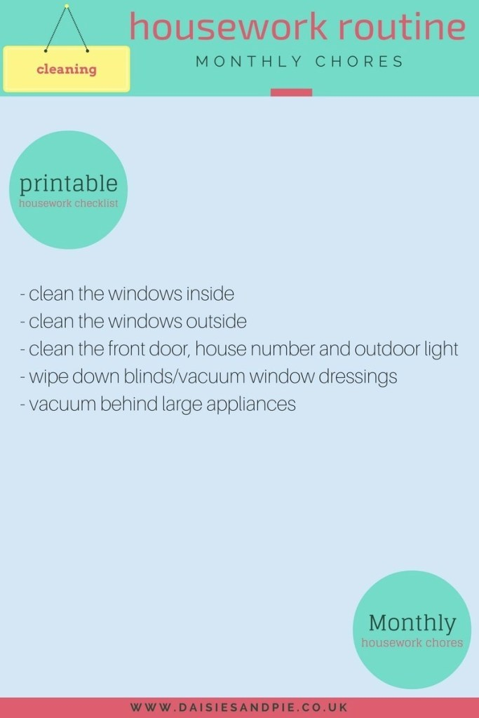 monthly housework checklist, monthly homemaking chores, housework to do monthly, printable housework checklist, homemaking tips uk, homekeeping from daisies and pie