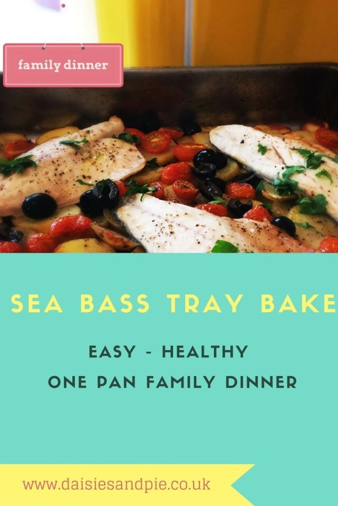 sea bass tray bake recipe, one pan family dinner, healthy family dinner ideas, easy family food from daisies and pie