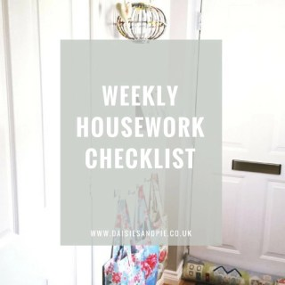 """Bright white hallway with picture shelves and a row of hooks with Cath Kidston bags hanging from them, white painted door. Text overlay saying """"weekly housework checklist"""""""