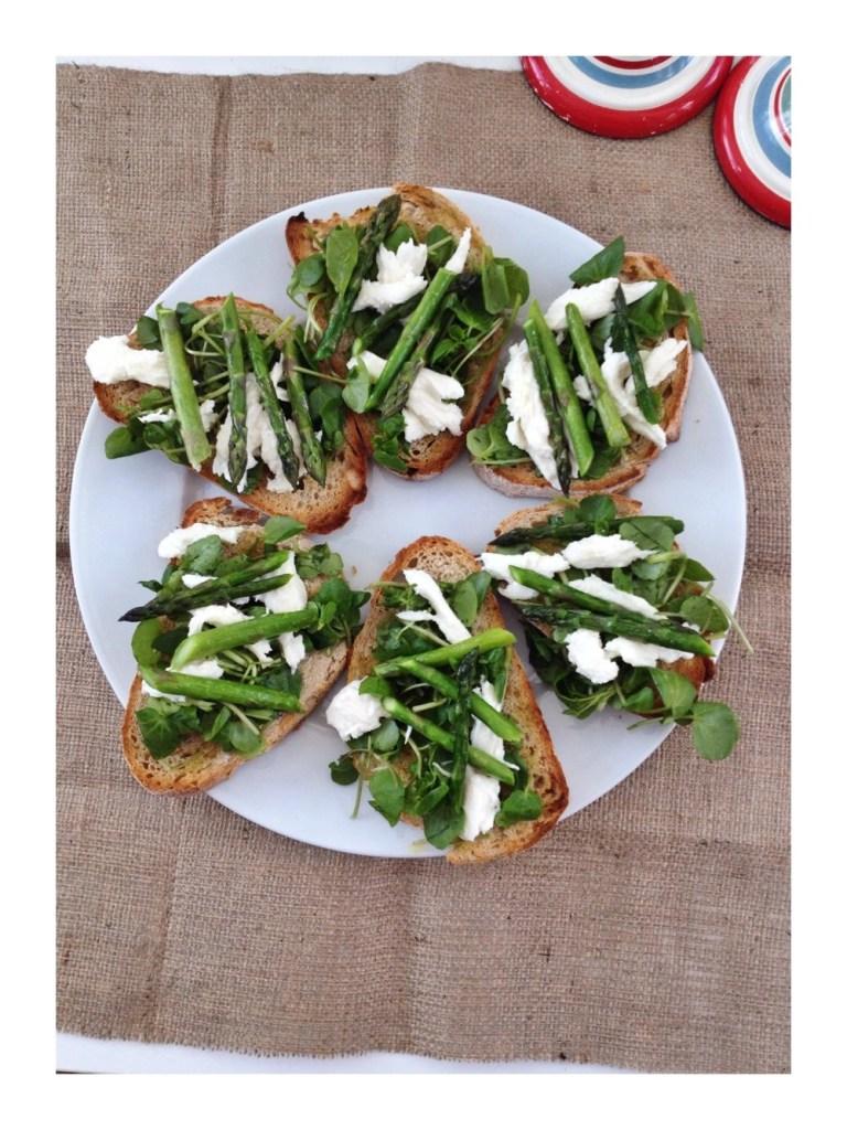 Asparagus and watercress bruschetta