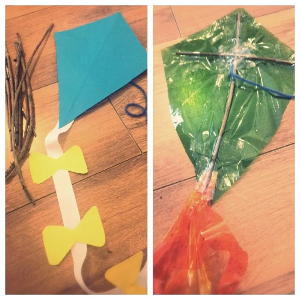 rainy day kites made with plastic, how to make rainy day kites, quick guide to making kites