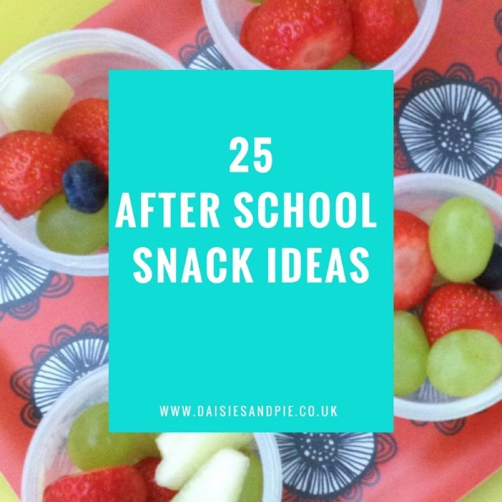 """red flowery tray with small Sistema plastic pots filled with a mix of strawberries, blueberries, grapes and melon. Text overlay saying """"25 after school snack ideas"""""""