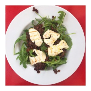 halloumi and puy lentil salad, things to make with halloumi, lentil salad recipe, quick vegetarian meal, merchant gourmet puy lentils with sun dried tomatoes and basil, warm salad recipe, Daisies & Pie, daisies and pie
