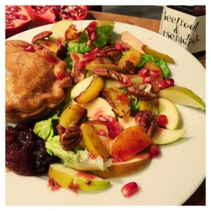 autumn salad with apples and roasted beetroot topped with pecans and pomegranate, autumn salad to serve with pork pies, easy family food from Daisies and Pie