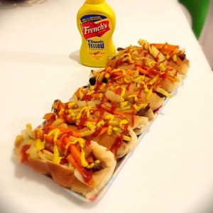 Gourmet hot dogs with maple marinated roast root vegetables, gourmet hot dog recipe, easy family food from Daisies and Pie