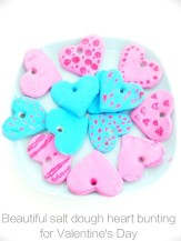heart bunting for valentines day, salt dough heart bunting, salt dough recipe, kids valentines day activities, kids activities from daisies and pie