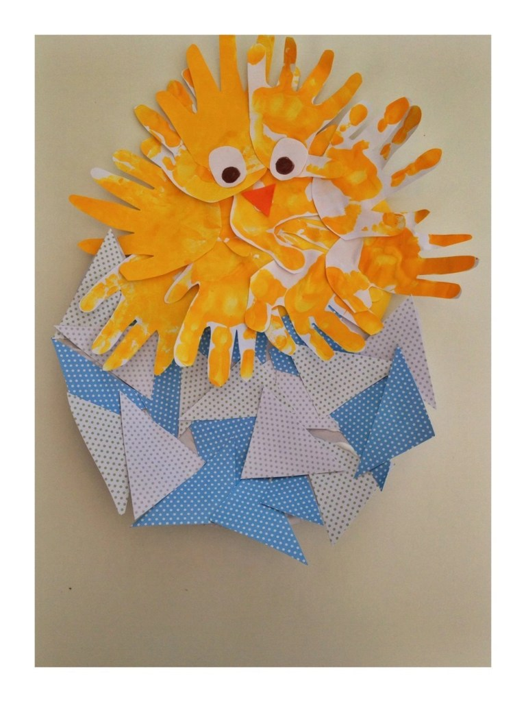 handprinted easter chick, spring activities for toddlers, easter crafts for kids, daisies and pie