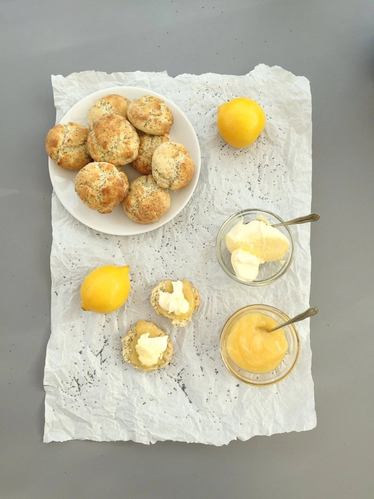 lemon and poppy seeds scones with lemon curd and clotted cream, how to make scones, easy family food from daisies and pie