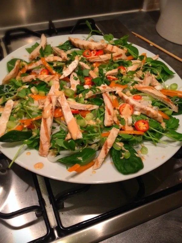 chicken satay noodle salad recipe, how to make noodle salad, satay sauce recipe, easy midweek dinner, easy family food from daisies and pie