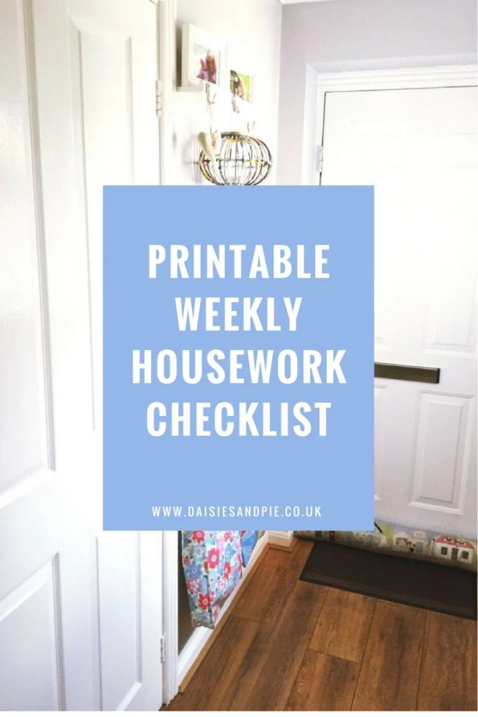 Printable weekly housework checklist