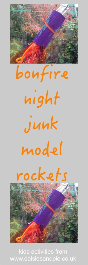 bonfire night junk model rockets, bonfire night crafts for kids, firework crafts for kids, autumn crafts for kids