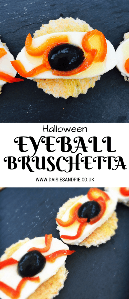 Halloween recipe for eyeball bruschetta, spooky food for Halloween parties