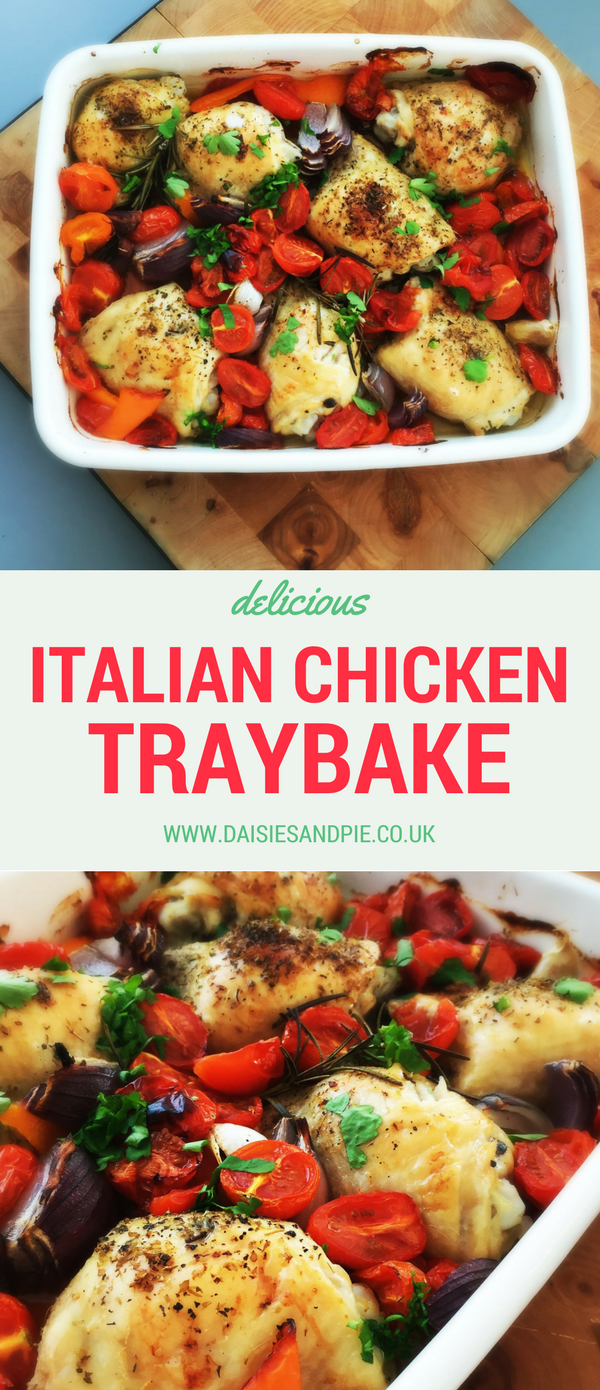 Delicious and easy Italian chicken traybake, one pan meal perfect for summer dinner, easy chicken recipe