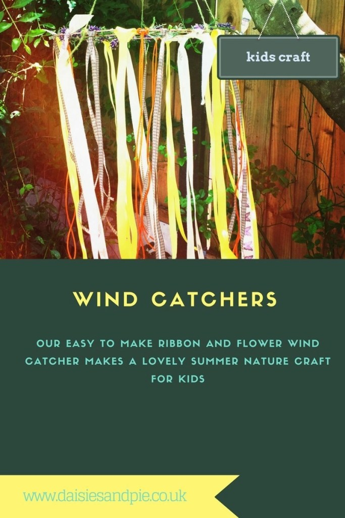 make wind catchers, kids wind catchers, how to make wind catchers, easy garden party decorations, summer nature crafts for kids, ribbon wind catchers,