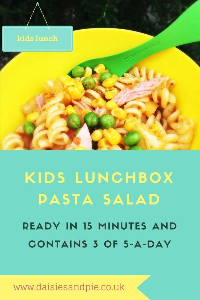 kids lunchbox pasta salad, #PowerOfFrozen, quick pasta salad recipe, kids lunchbox ideas, easy family food from daisies and pie