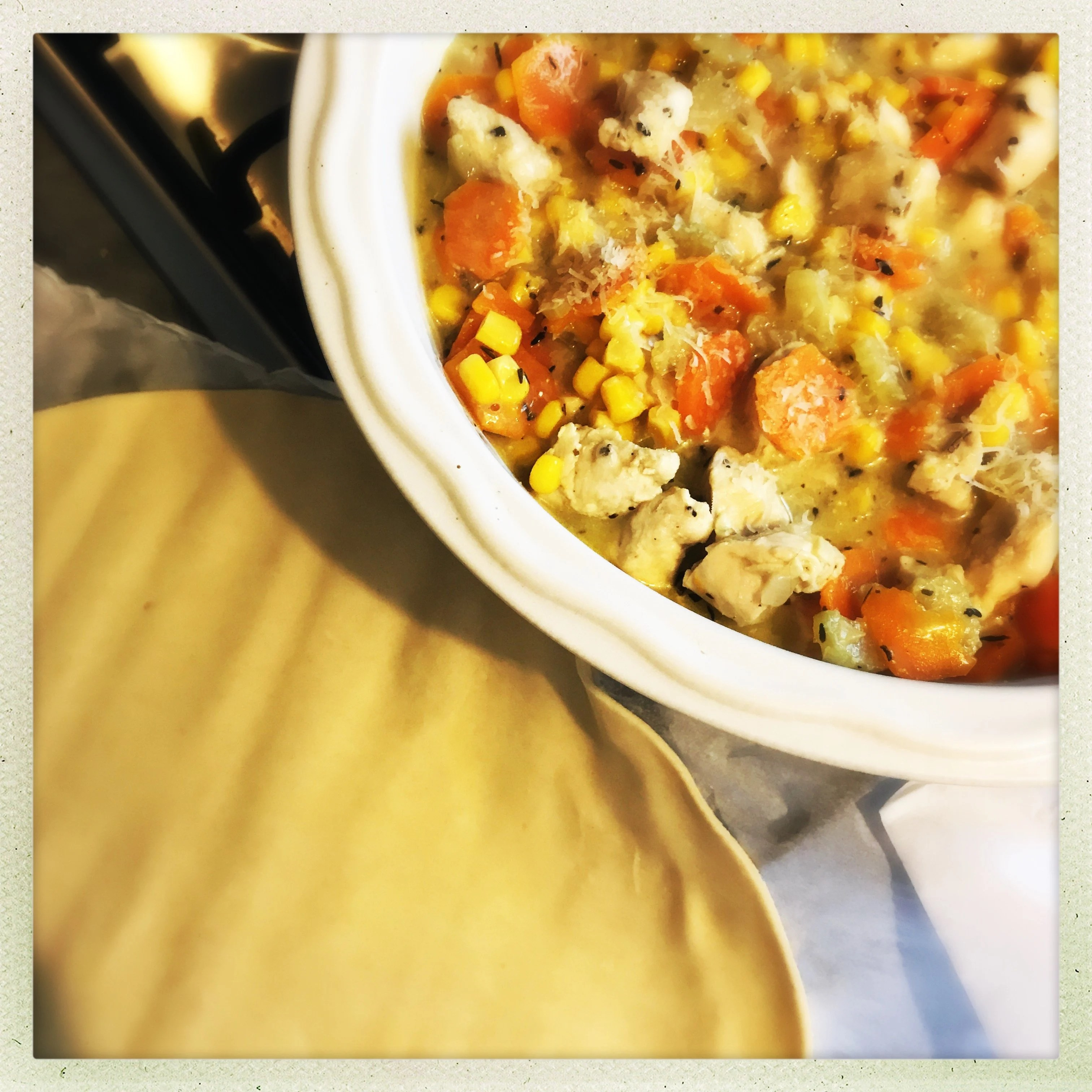 Really easy chicken and sweetcorn pie