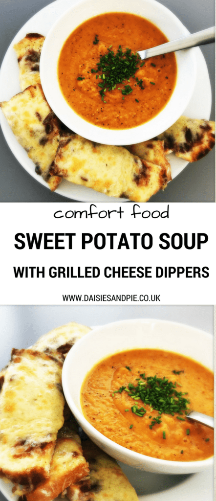 Delicious autumn soup recipe, sweet potato soup with grilled cheese dippers, autumn soup recipe