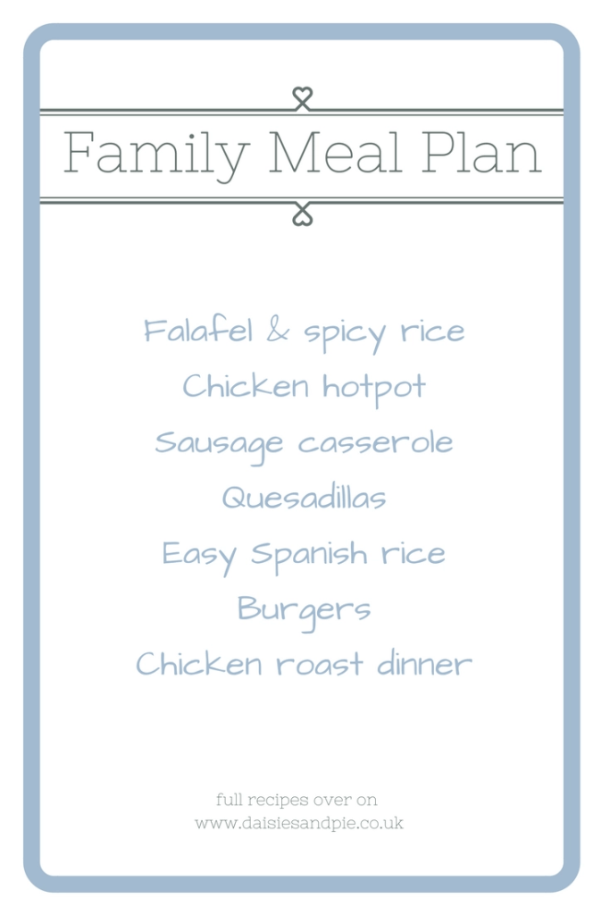 Weekly family meal plan filled with easy family dinner recipes, easy family food from daisies and pie